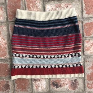 Fall sweater skirt small blue red cream